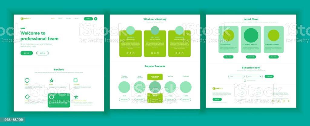Web Page Design Vector. Website Business Graphic. Responsive Interface. Landing Template. Entertainment Future. Interface Menu. Futuristic Strategy. Illustration - Grafika wektorowa royalty-free (Anonymous - grupa aktywistów)