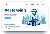 Web page flat design template for car leasing. Business landing page vehicle rental in city. Automobile hire or buying. Modern vector illustration concept for website and mobile website development
