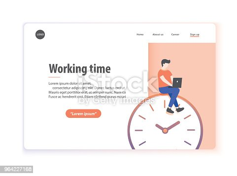 Web page layout working time illustration vector on white background.