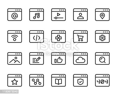 Web Page Line Icons Vector EPS File.