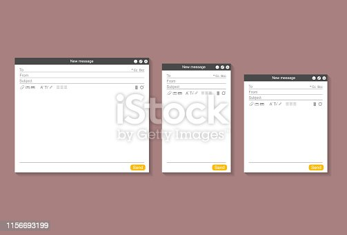 Web Page Opened Email Empty Template Mockup Set Opened on PC, Tablet and Mobile Phone. Vector illustration