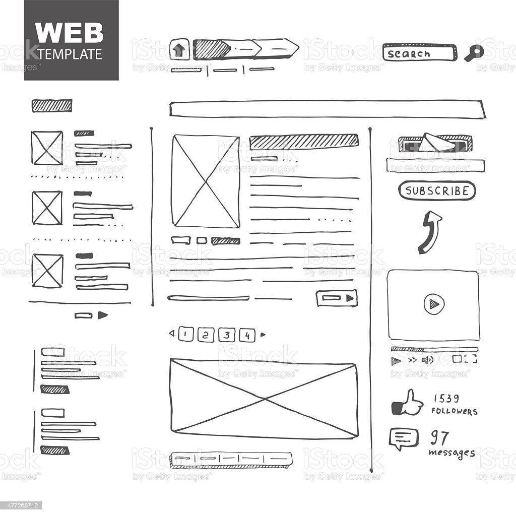 Web page sketch vector art illustration