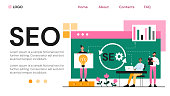 Web page template for SEO on a website with developers analysing statistics and data for ratings and code, colored vector illustration