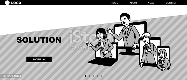 istock Web page template of business. Landing page concepts for website development. Vector illustration. 1312241960