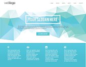 Web Layout page. Low poly design in the background in Blue & Green gradient. It's specially the home page design for one page web design.