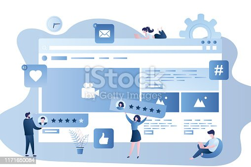 Web page template with rating system,male and female characters with rank planks in trendy simple style,internet signs and buttons,vector illustration flat design