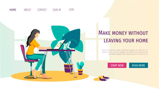 web page template with young woman working at home. - working from home stock illustrations