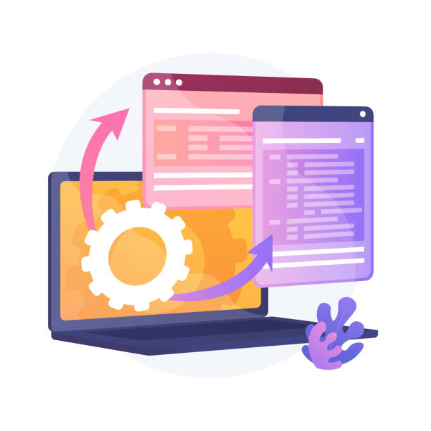 Web Page visualization vector concept metaphor Web Page visualization. Protocol procedure. Dynamic software workflow. Full Stack development, markup, administrate system. Driver for shared memory. Vector isolated concept metaphor illustration. administrate stock illustrations