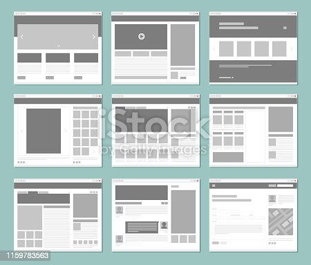 Web pages layout. Internet browser windows with website elements interface ui template vector design. Illustration of window browser, website menu or homepage architecture
