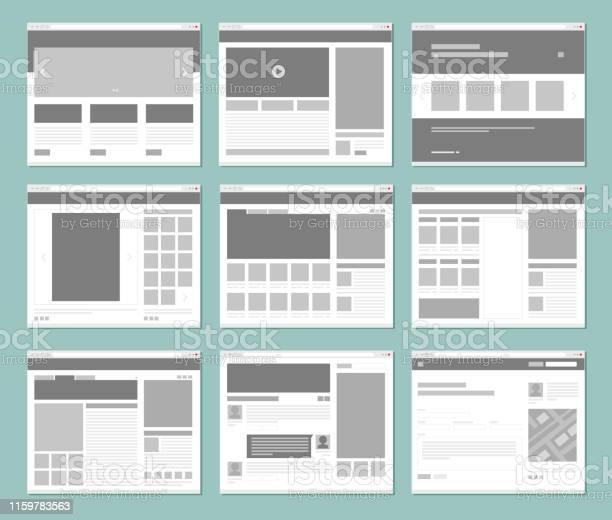 Web pages layout internet browser windows with website elements ui vector id1159783563?b=1&k=6&m=1159783563&s=612x612&h=nnsdnls8uebiojlbaga0wp8spq466n3lmxkbjec7ztq=