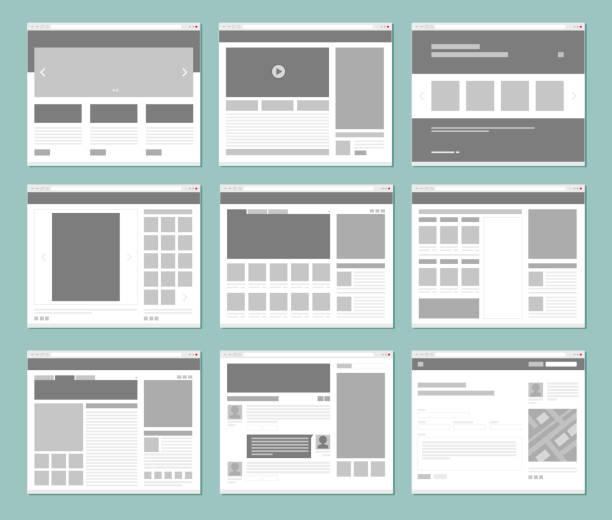 webseiten-layout. internet-browser-fenster mit website-elemente schnittstelle ui vorlage vektor-design - buchseite stock-grafiken, -clipart, -cartoons und -symbole