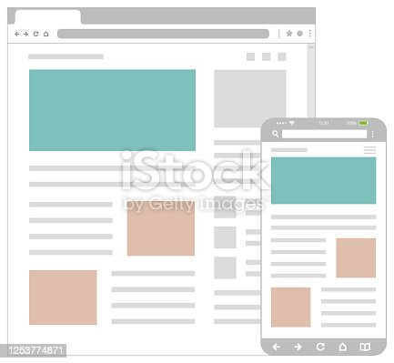 istock Web pages wireframe layout illustration / Web design template for PC browser , smartphone. 1253774871