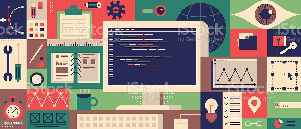 Web programming design flat concept vector art illustration
