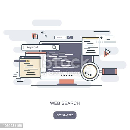 Web search concept. Search engine marketing concept. Flat vector illustration