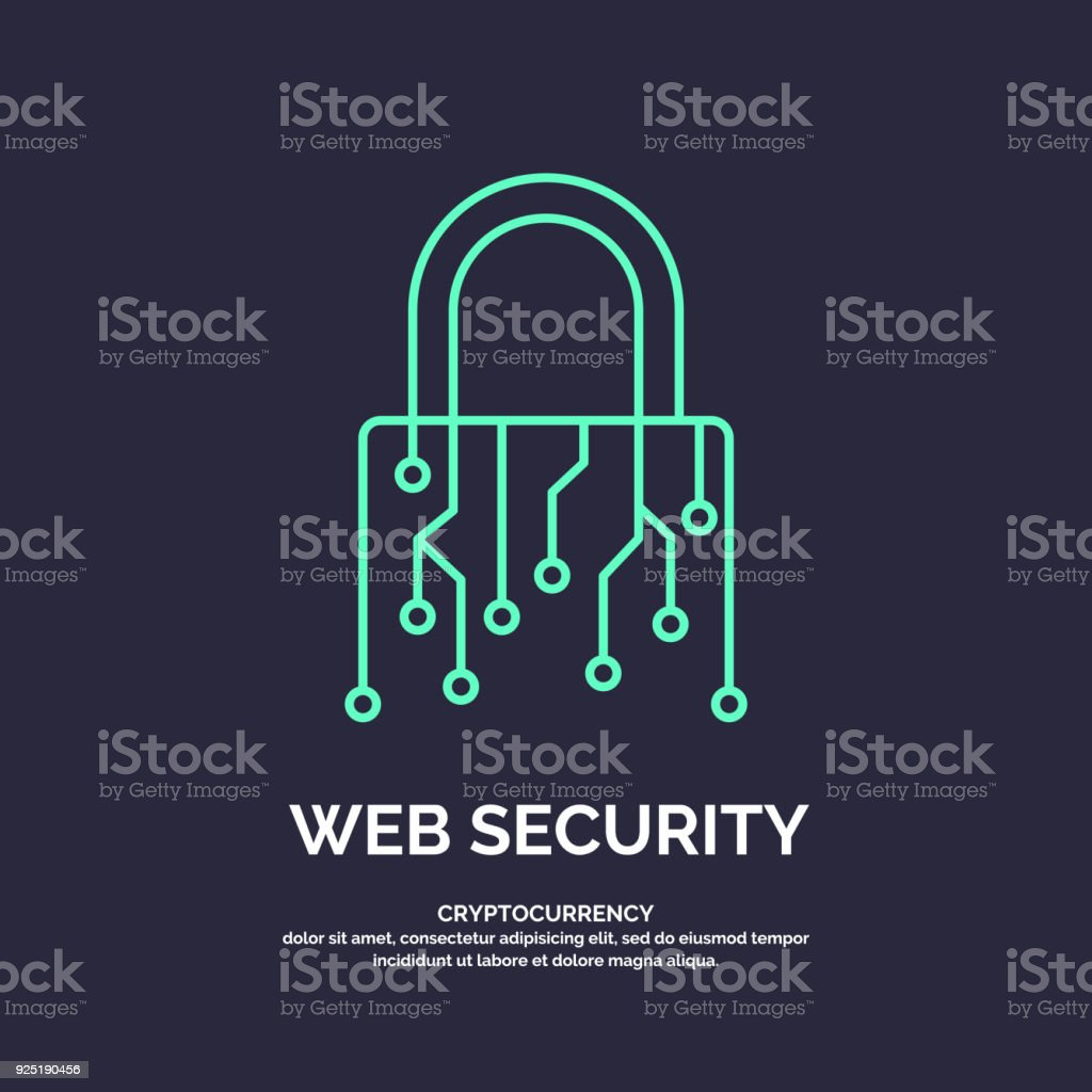 Web security for cryptocurrency. Global Digital technologies vector art illustration