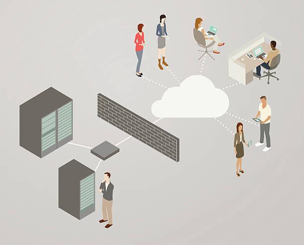 Web Server Network Diagram vector art illustration