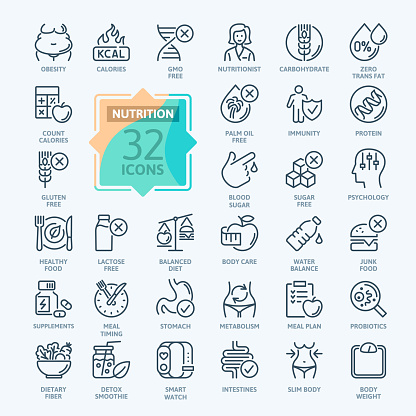 Web Set of Nutrition, Healthy food and Detox Diet Vector Icons. Contains such Icons as Metabolism, Caunt Calories, Palm oil free, Zero thans fat, Probiotics and more.