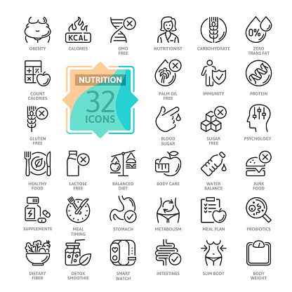 Web Set of Nutrition, Healthy food and Detox Diet Vector Thin Line Icons. Contains such Icons as Obesity, Caunt Calories, Palm oil free, Probiotics and more. Outline icons collection. Simple vector illustration.