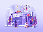 Web developing process. Website under construction in flat design. Maintenance page or 404 error illustration with developers team building or upgrading site, implementing services and new features.