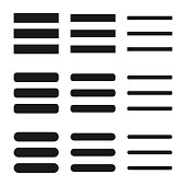 Web site Menu, line, list icon shape button set. Basic app ui page symbol logo sign. Vector illustration image. Isolated on white background. Internet navigation button.