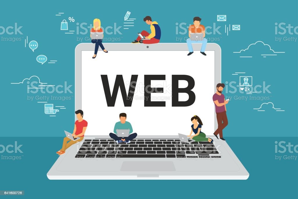 Web site surfing concept illustration vector art illustration