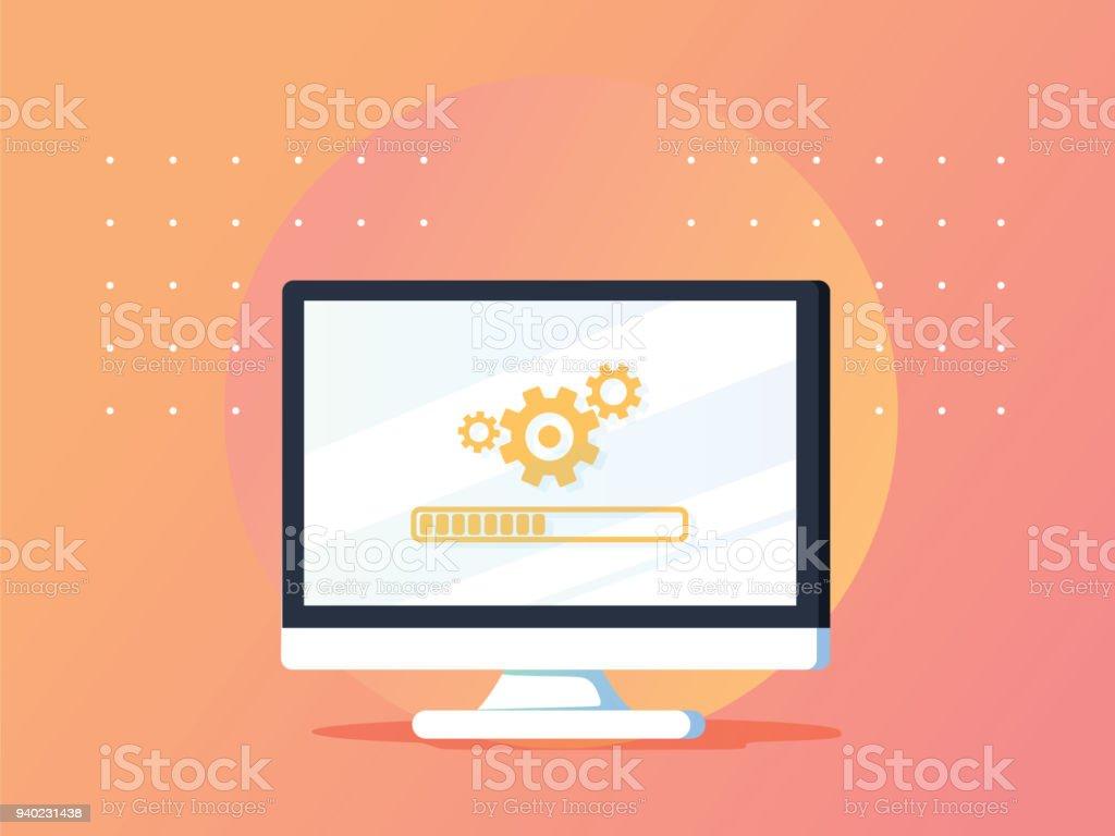 REMARKETING de sites web. Informatique mise à jour en ligne. Vector illustration plat dégradée. Bannière commerciale publicitaire - Illustration vectorielle