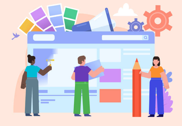 Web studio, web design agency, team. Group of people stand near big web page. Poster for social media, banner, web page, presentation. Flat design vector illustration web design stock illustrations