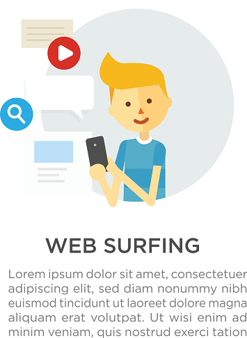 Web surfing. Guy with a phone