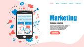 Web Template. Concept for Digital marketing agency, digital media campaign flat vector illustration