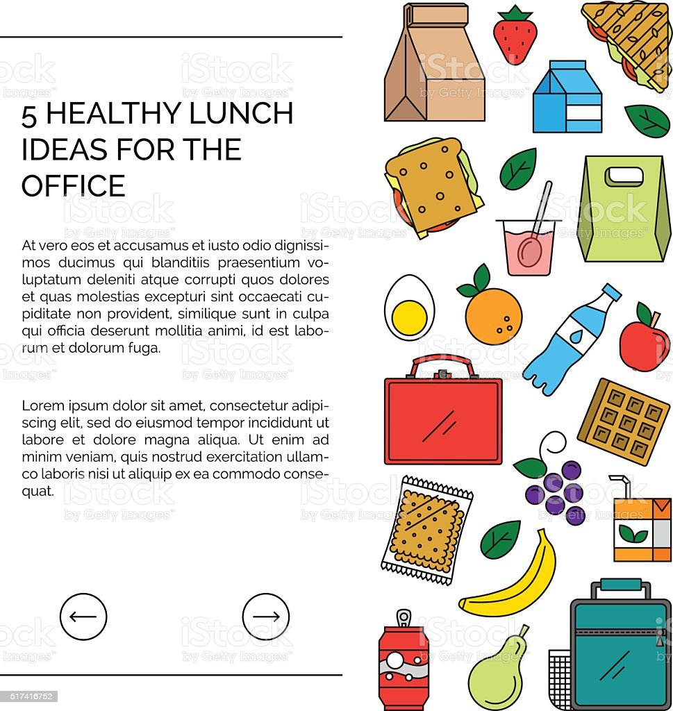 Web template for lunch recipes page. vector art illustration