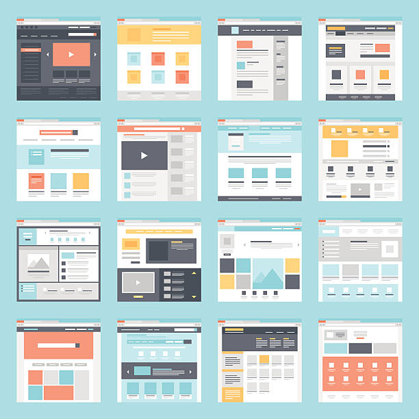 web template - wire frame model stock illustrations