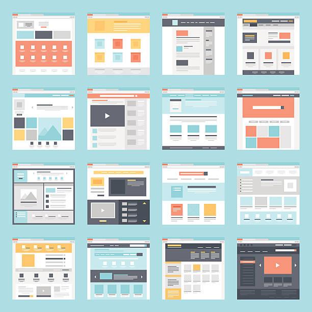 ilustrações, clipart, desenhos animados e ícones de modelo de web - infográficos de site