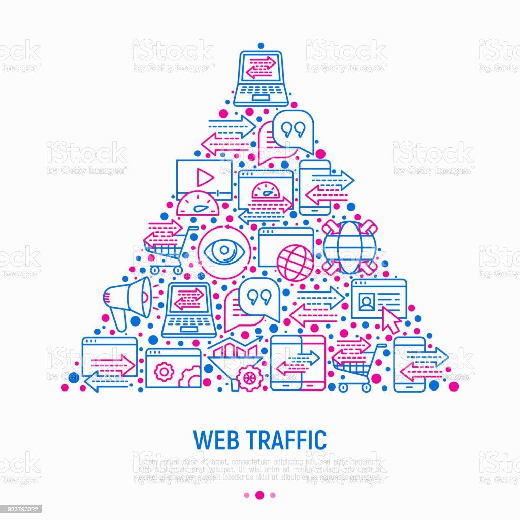 Ilustración de Concepto De Tráfico Web En Triángulo Con Los Iconos ...