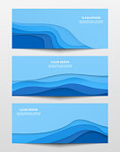 Web trendy horizontal banners set with place for text and blue paper waves. Vector illustration