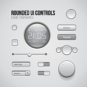 Web UI Controls Design Elements: Buttons, Switchers, On, Off, Player, Audio, Video: Play, Stop, Pause, Volume, Equalizer, Knobs