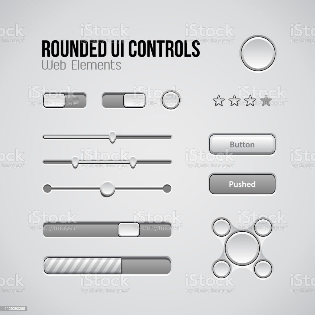 Web UI Controls Design Elements: Buttons, Switchers, On, Off, Player, Audio, Video: Play, Stop, Next, Pause, Volume, Equalizer, Knobs, Navigation Bar, Progress Bar, Search, Drop-down