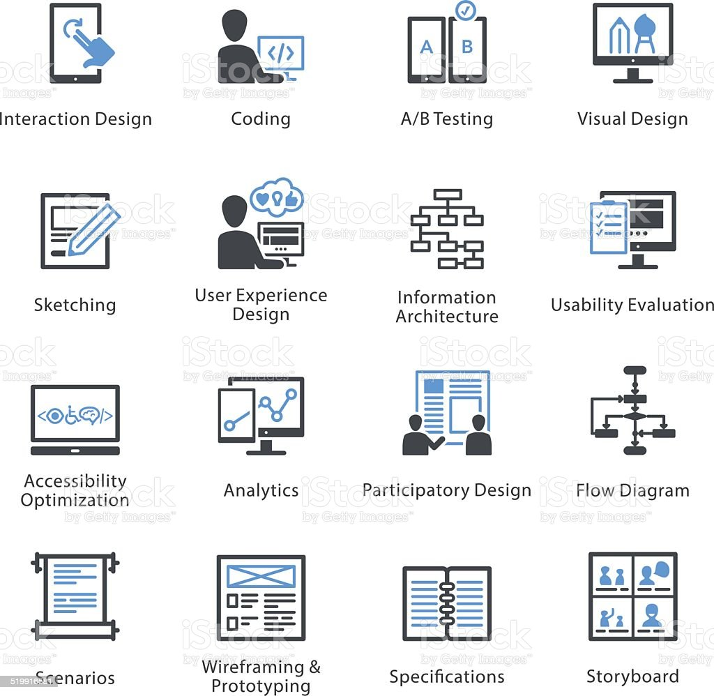 Web Usability & Accessibility Icons Set 2 - Bleu Series vector art illustration