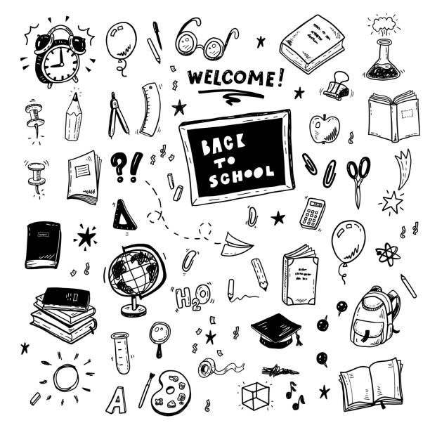 Web Back to school doodles set, hand drawn education icons collection book drawings stock illustrations