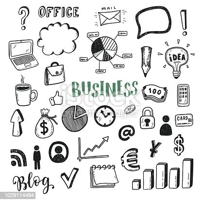 Business doodle icons vector set