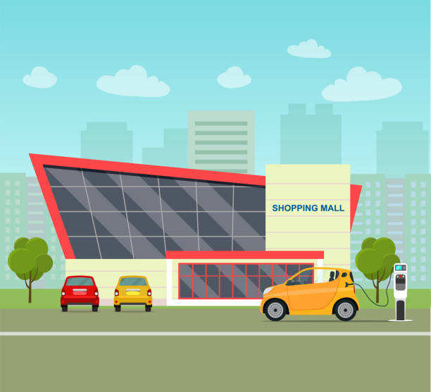 Web Yello сompact electric car. Electric car is charging, side view. Shopping mall building. City life set with cars, road and buildings. Vector flat illustration electric car stock illustrations