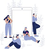 concept of internet research, team work, young men and women near  the big tablet and using their own smartphones, reading online news, social network, usability. character design vector illustration