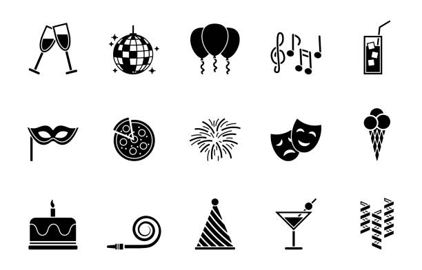 Web party and birthday icon set champaign illinois stock illustrations