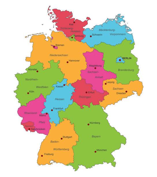 bildbanksillustrationer, clip art samt tecknat material och ikoner med webben - germany map leipzig