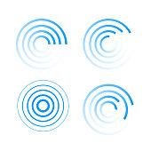 Set of radar icons. Sonar sound waves.  EPS10