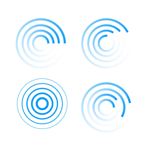 Web Set of radar icons. Sonar sound waves.  EPS10 medical technical equipment stock illustrations