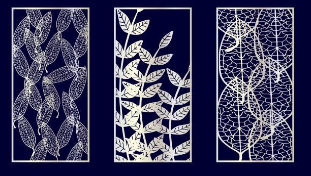 Web Set of Decorative laser cut panels. Vector Illustration. decorative laser cut set stock illustrations