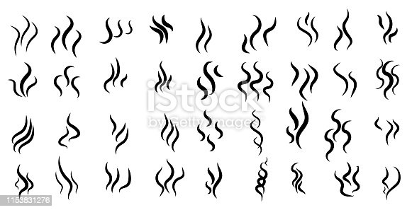 Smoke steam silhouette icon. Cooking steam or warm aroma smell mark