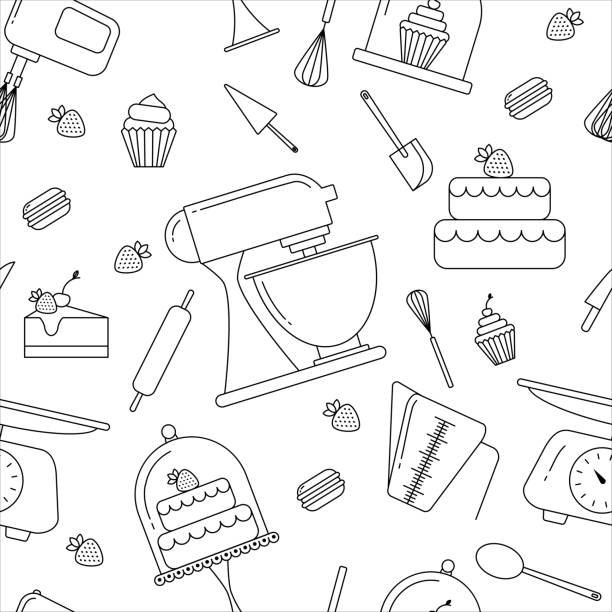 Web Vector seamless  pattern of elements for bakery in trendy linear style cake clipart stock illustrations
