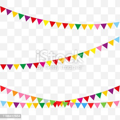 Bunting flags for happy birthday or holidays flat style design. Vector celebrate background party flags.