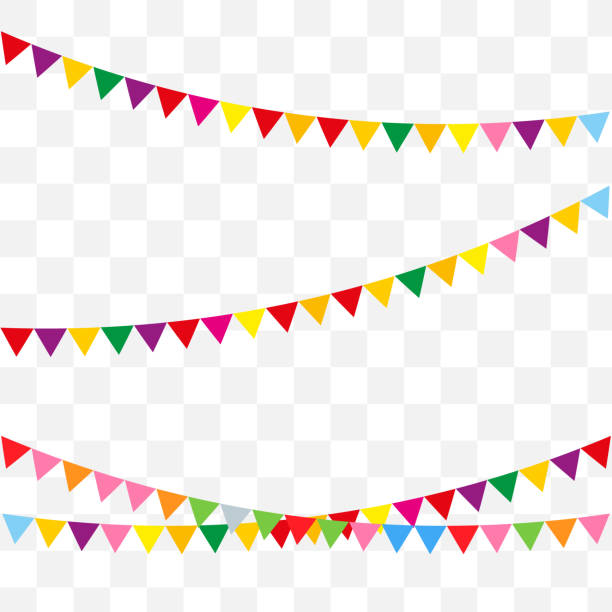 Web Bunting flags for happy birthday or holidays flat style design. Vector celebrate background party flags. birthday background stock illustrations